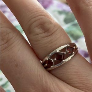 Sterling silver garnet ring